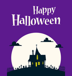 happy halloween on background of the moon vector image