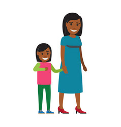 happy mother walking with daughter flat vector image