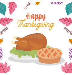 happy thanksgiving day baked turkey and cake vector image