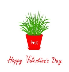 Happy Valentines Day Grass Growing in red flower vector