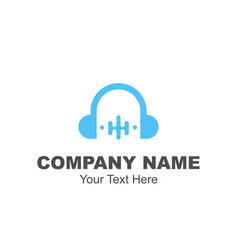 headphone logo design vector image
