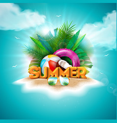 hello summer holiday with 3d vector image