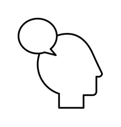 Human head profile with speech bubble vector