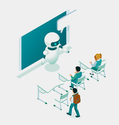 isometric education or business training using vector image