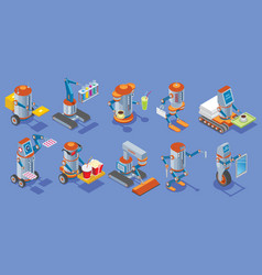 isometric robots collection vector image