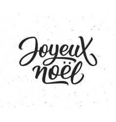 Joyeux noel lettering merry christmas on french vector