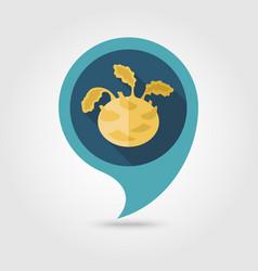 Kohlrabi flat pin map icon vegetable vector