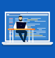 man using computer coding and programming vector image