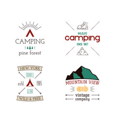 mountain camping logos set hand drawn hiking vector image