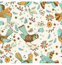 Natural floral seamless background with birds vector