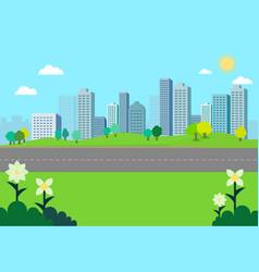Nature park landscape with city background vector