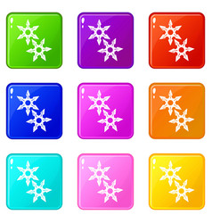 Ninja stars icons set 9 color collection vector