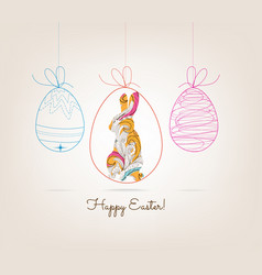 ornamental doodle easter egg and bunny vector image