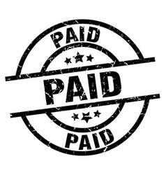 Paid round grunge black stamp vector