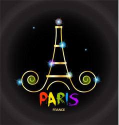 paris eiffel tower black background logo vector image
