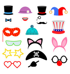 Party birthday photo booth props flat collection vector