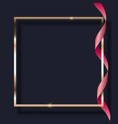 pink ribbon and golden frame on dark background vector image