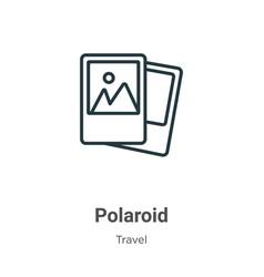 Polaroid outline icon thin line black polaroid vector
