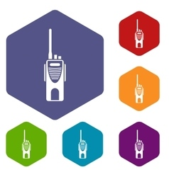 Radio transmitter icons set vector image