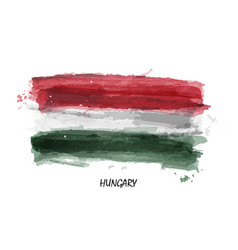 realistic watercolor painting flag of hungary vector image