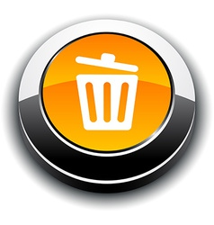 Recycle bin 3d round button vector