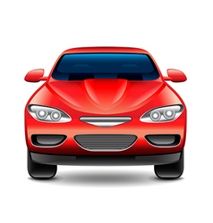 Red car front view isolated on white vector