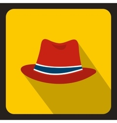 Red hat icon in flat style vector