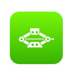 red scissor car jack icon digital green vector image