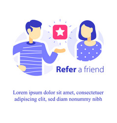Refer a friend concept referral program vector