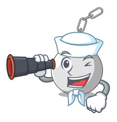 Sailor with binocular wrecking ball isolated on a vector