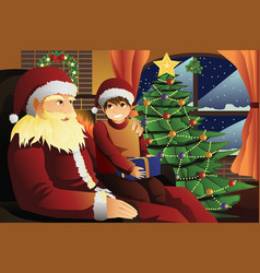 santa claus talking with a kid on his lap vector image