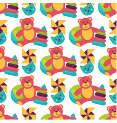 seamless pattern background full kid toys cartoon vector image