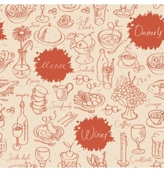 seamless texture with food and drink vector image