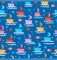 seamless with cute children s boats vector image