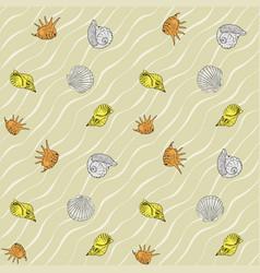 seashells on the sand seamless pattern vector image