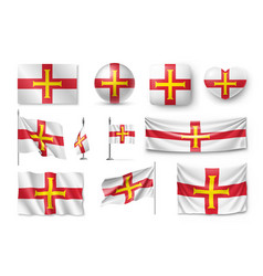 Set guernsey flags banners banners symbols vector
