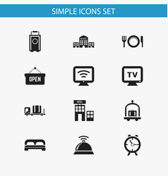 set of 12 editable travel icons includes symbols vector image vector image