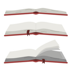 set of open books on white isolated background vector image