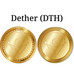 Set of physical golden coin dether dth vector