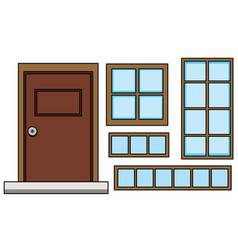 Set window and door vector