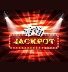 shining sign jackpot banner illuminated vector image