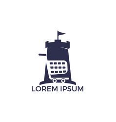 shopping cart fort logo design vector image