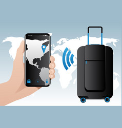 smart baggage with built-in gps tracking vector image