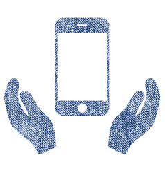 Smartphone care hands fabric textured icon vector