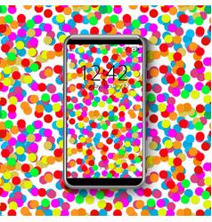 smartphone with colorful wallpaper confetti vector image