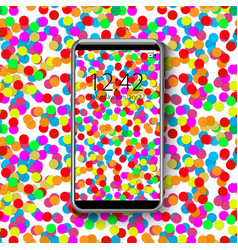 smartphone with colorful wallpaper of confetti vector image