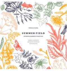 Summer wild flowers design floral card vector