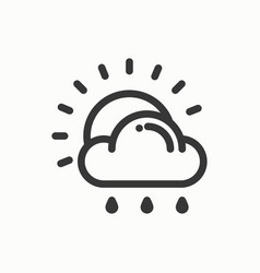 sun cloud rain line simple icon weather symbols vector image