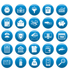 taxes icons set vetor blue vector image