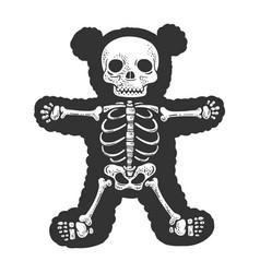 Teddy bear skeleton line art sketch vector